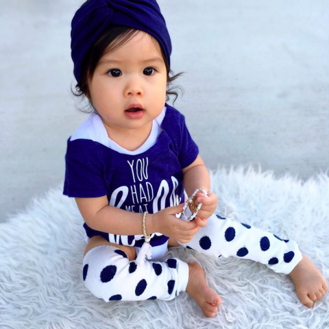 Navy Polka Dot Leg Warmers & Headwrap Set