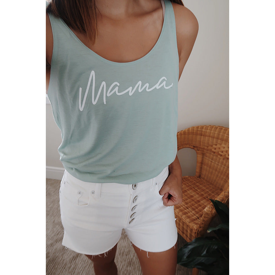 """Mama"" Adult Ladies Seafoam Green Tank Top - Size Medium"