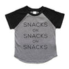 """Snacks on Snacks on Snacks"" Grey/Black Child Raglan Short Sleeve T-Shirt"