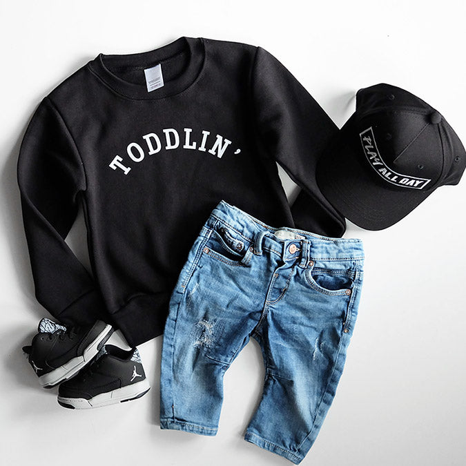 """Toddlin'"" Child Sweatshirt Black - Size 6 Only"