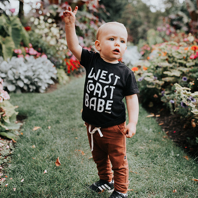 """West Coast Babe"" Black Crewneck Child T-Shirt - Size 5T"