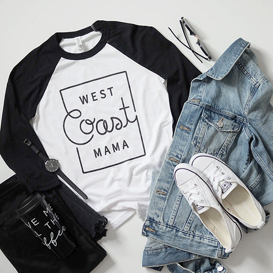 """West Coast Mama"" Black/White Ladies Baseball Raglan"