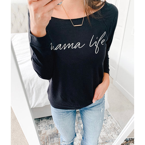 """Mama Life"" Ladies Black Lightweight Wide Neck 3/4 Sleeve Top"