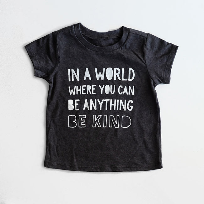 """Be Kind"" Child T-Shirt Dark Grey/White"