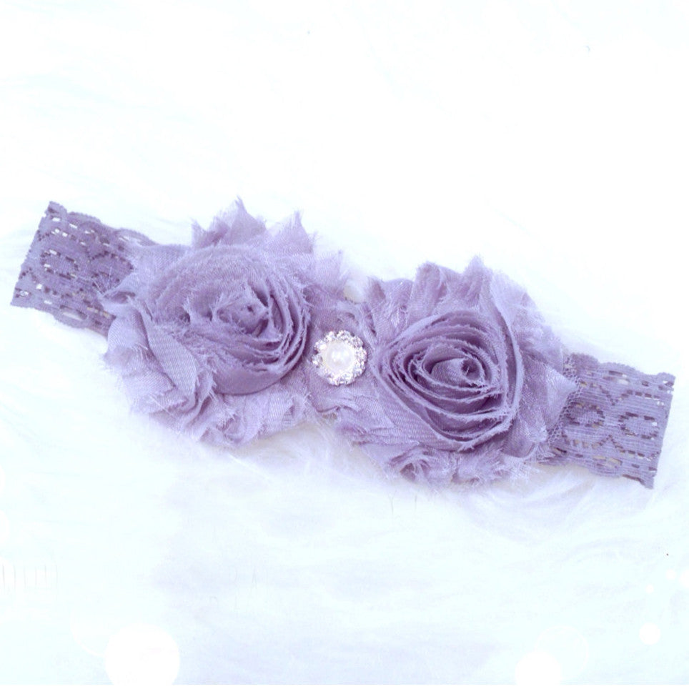 Grey Lace Headband with Grey Flowers and Rhinestone Jewel