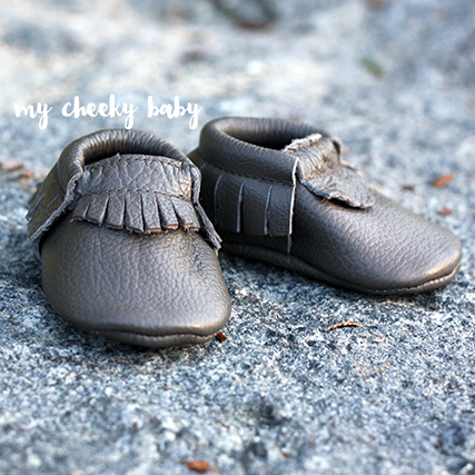 SALE Baby/Toddler Moccasin Shoes - Dark Grey