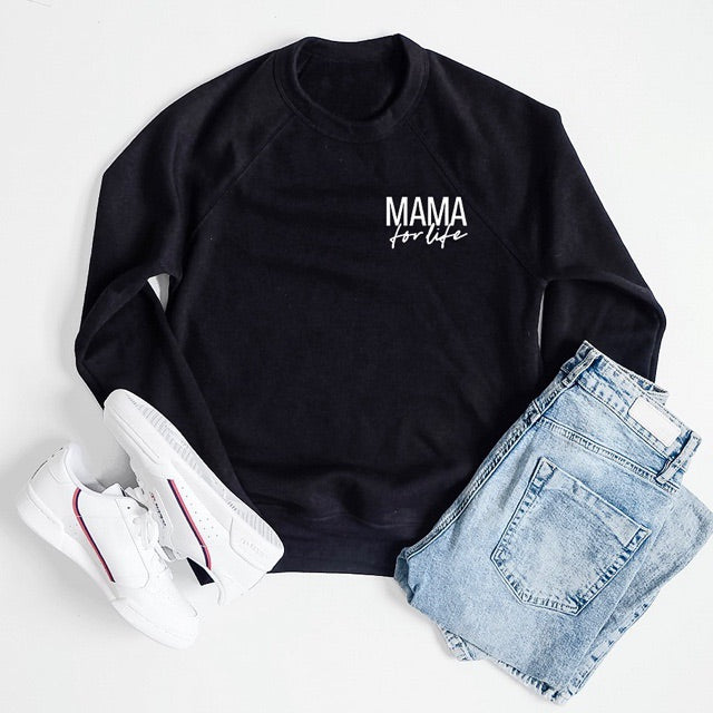 """Mama for Life"" Ladies Black Crewneck Sweatshirt - Size Medium"