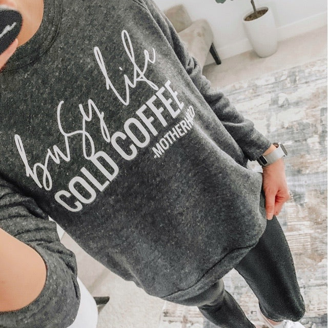 Busy Life Cold Coffee - Motherhood - Ladies Triblend Charcoal Crewneck Sweatshirt