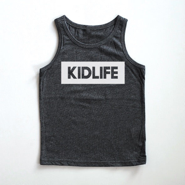 """Kidlife"" Dark Heather Charcoal Child Tank Top"