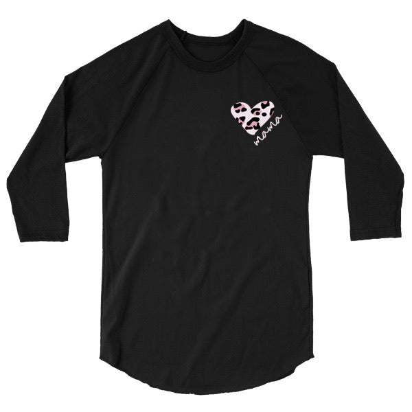 "Leopard Heart ""Mama"" Ladies Adult Black Raglan - Size XL"