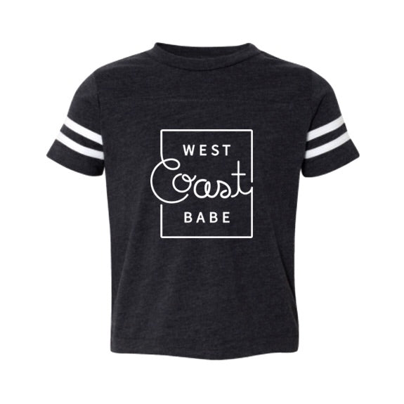 """West Coast Babe"" Child Football T-Shirt Dark Charcoal with White Stripes"
