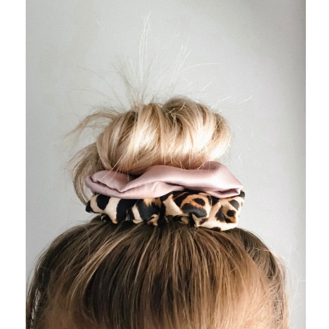 Blush Champagne and Leopard Two Tone Scrunchie