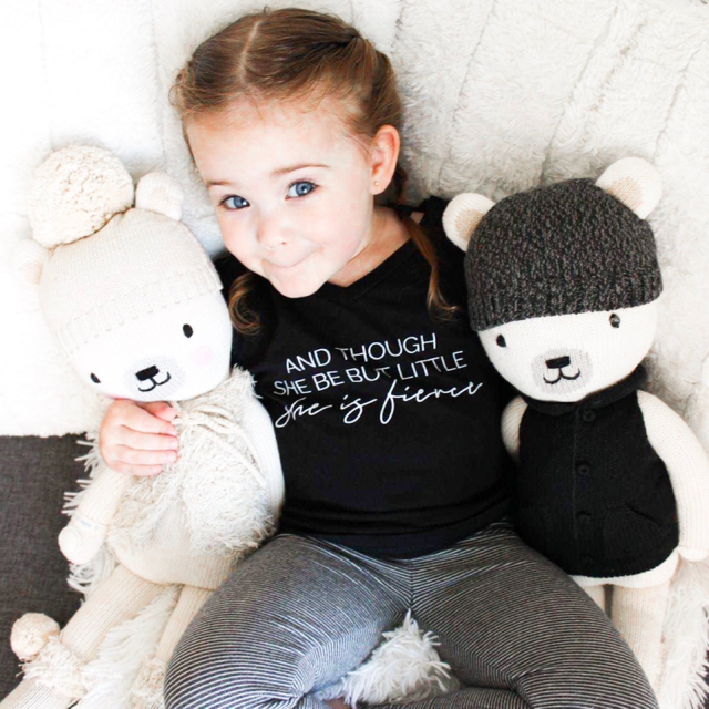 """And though she be but little, she is fierce"" Black V-Neck Child T-Shirt"
