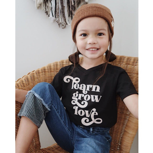 """Learn Grow Love"" Black/Peach V-Neck Child T-Shirt"