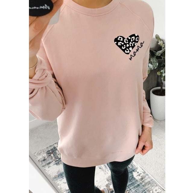 """Mama"" Leopard Heart Adult Ladies Mauve Light Dusty Pink Crewneck Sweatshirt"
