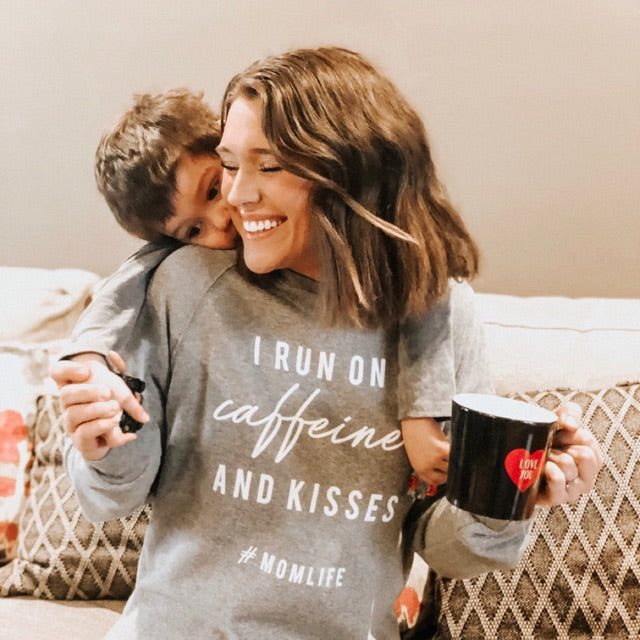 """I Run on Caffeine and Kisses"" Ladies Grey Crewneck Sweatshirt"