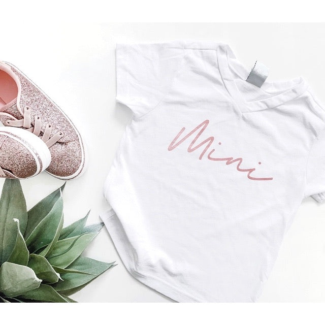 """Mini"" White V-Neck with Rose Gold Ink Child T-Shirt"