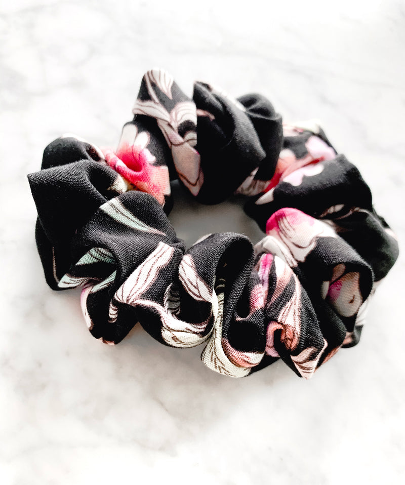 Black Floral Stripe Scrunchie