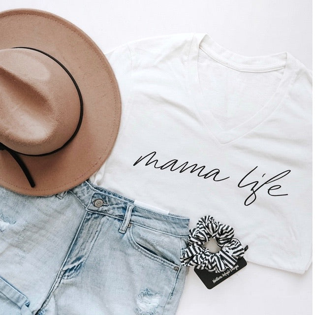 """Mama Life"" Ladies Ivory Cream V-Neck T-Shirt"