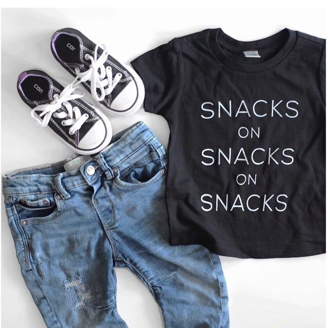 "SALE ""Snacks on Snacks on Snacks"" Black Child T-Shirt"