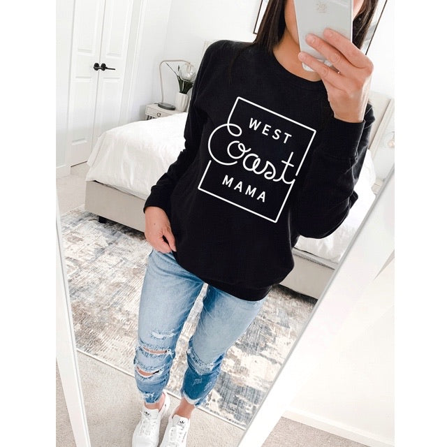 """West Coast Mama"" Black Adult Crewneck Sweatshirt"