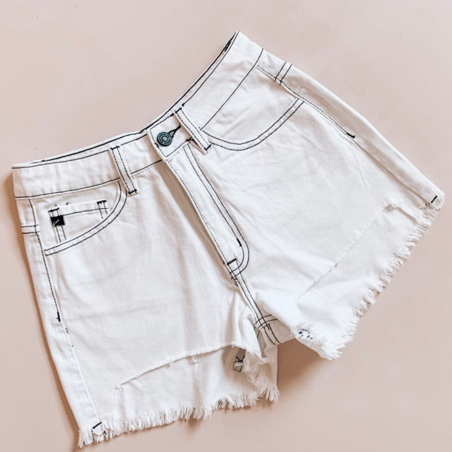 """Hannah"" - Adult White Denim Jean Shorts Raw Edge Hem"