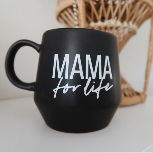 2 PC Set - DADLIFE and Mama for Life - Matte Black Ceramic Mugs