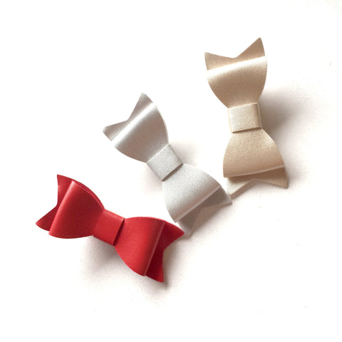3 PC Red, Silver, Gold Leather Bow Clip Combo