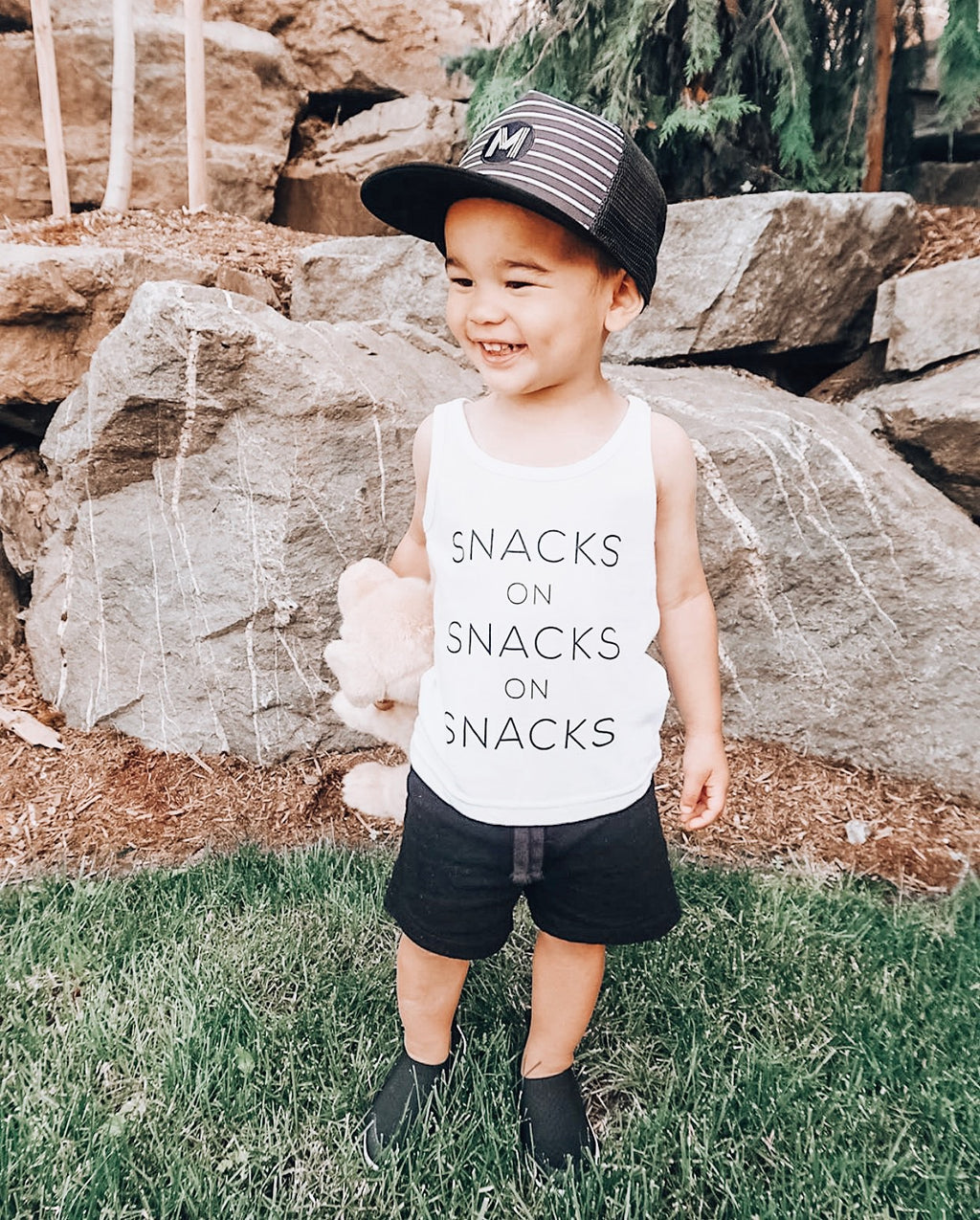 """Snacks on Snacks on Snacks"" White Child Tank Top"