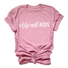 #Life with kids Ladies Dusty Rose Mauve Crewneck T-Shirt