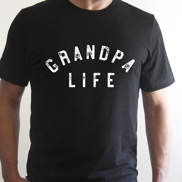 """Grandpa Life"" Solid Black Adult Mens Tee"