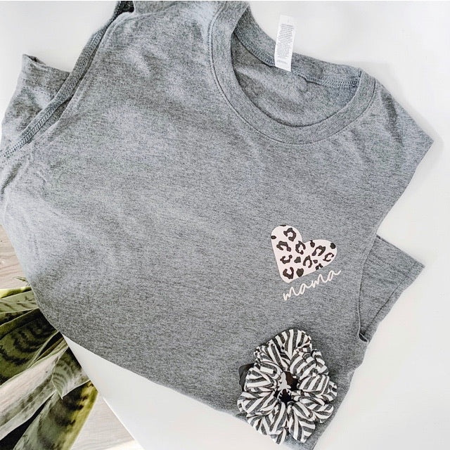 """Mama"" Leopard Heart Adult Ladies Dark Grey Tank Top"
