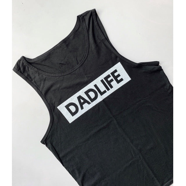 """DADLIFE"" Solid Black Mens Tank - Size 2XL Only"
