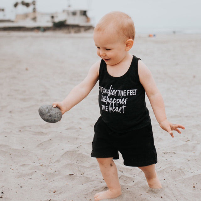 """The Sandier the Feet the Happier the Heart"" Triblend Charcoal Child Tank Top"