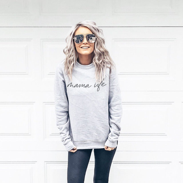 Mama Life - Ladies Athletic Grey Crewneck Sweatshirt