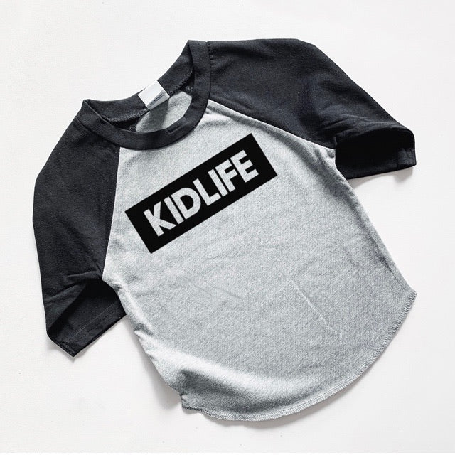 """KIDLIFE"" Black Grey Child Raglan"