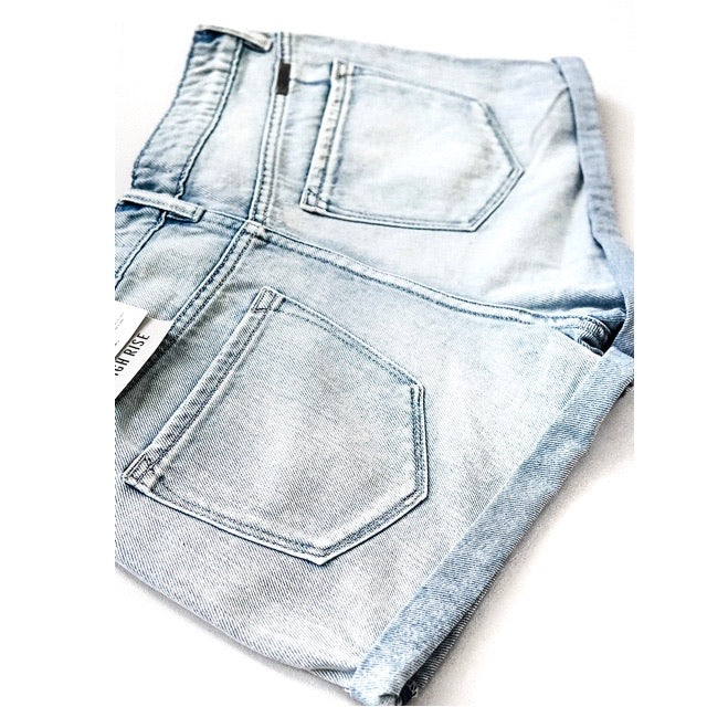 """Ellie"" - Adult Denim Ripped Jean Shorts with Folded Hem"