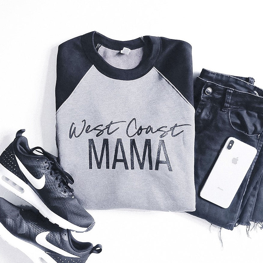 """West Coast Mama"" Two Tone Grey/Black Crewneck Sweatshirt - Size XL Only"