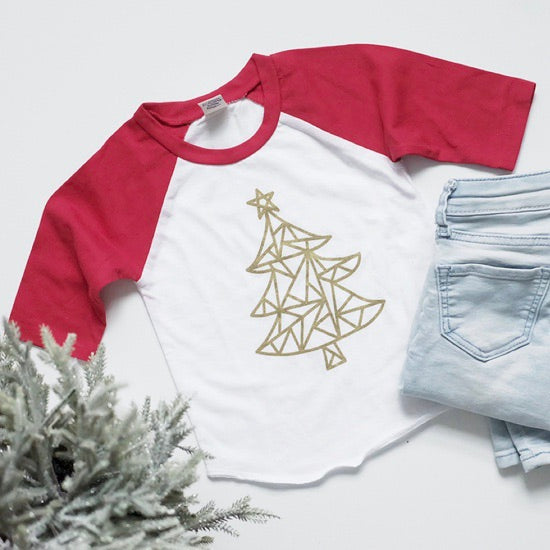 Child Red/White Christmas Raglan - Gold Metallic Geometric Christmas Tree