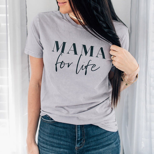 """Mama for Life"" Ladies Mauve Mineral Wash Crewneck T-Shirt - Size Large"