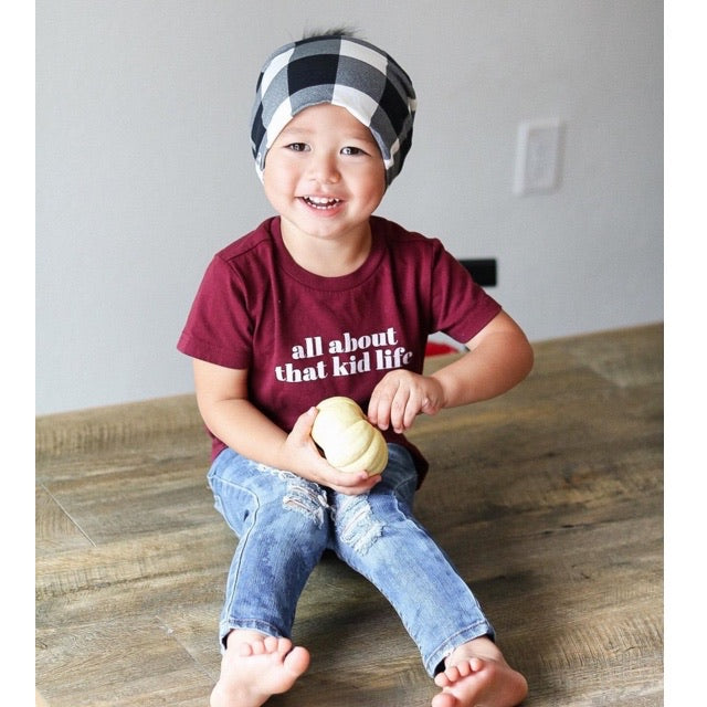"""All about that kid life"" Deep Maroon Child T-Shirt"