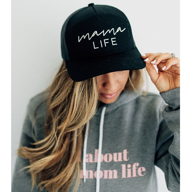 """Mama Life"" Black Cap with White Glitter Design"