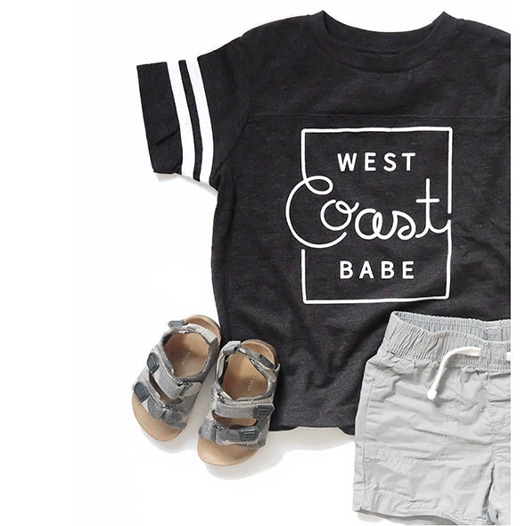 "SALE ""West Coast Babe"" Child Football T-Shirt Dark Charcoal with White Stripes"