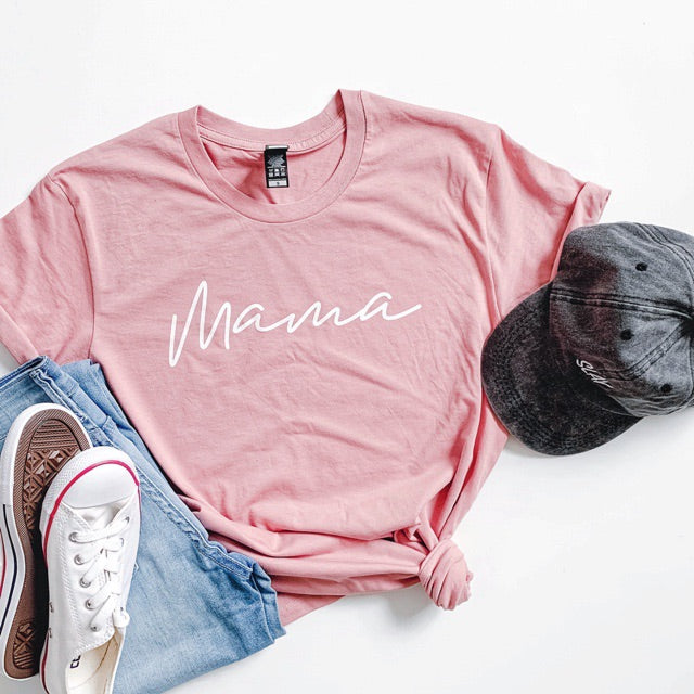 """Mama"" Ladies Dusty Rose Pink Unisex Crewneck T-Shirt"