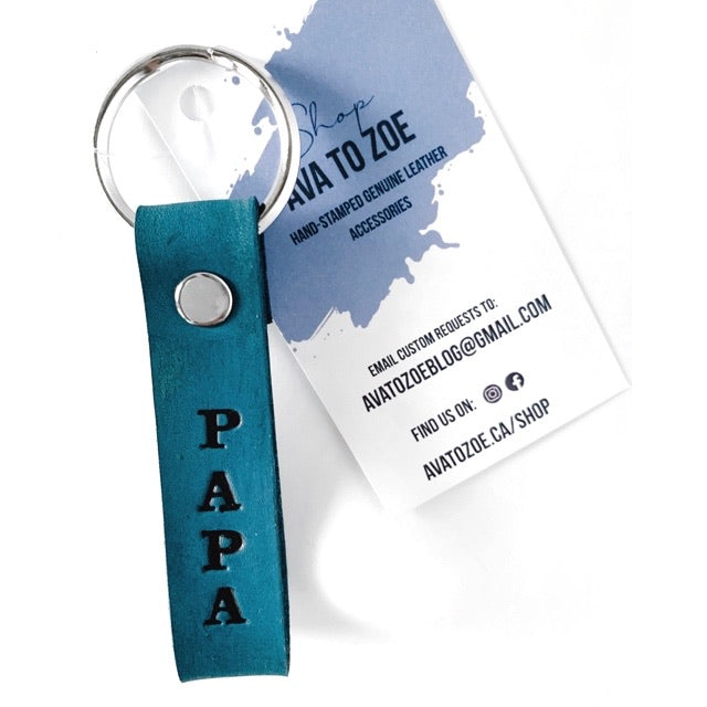 Hand Stamped Indigo Blue Genuine Leather Keychain - PAPA