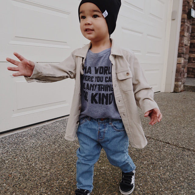 """In a world where you can be anything be kind"" Child T-Shirt Triblend Grey"