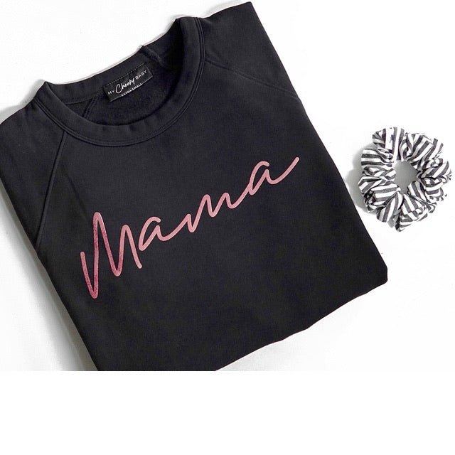 Rose Gold Mama - Adult Ladies Black Crewneck Sweatshirt