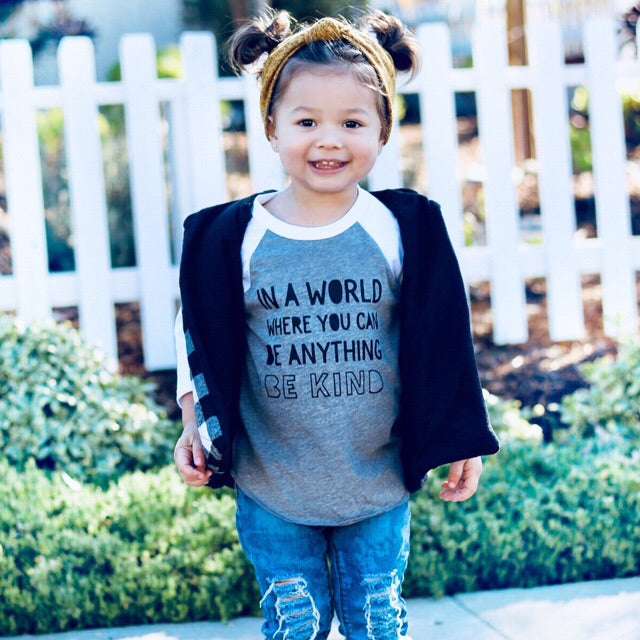 """Be Kind"" Child Grey and White Raglan"