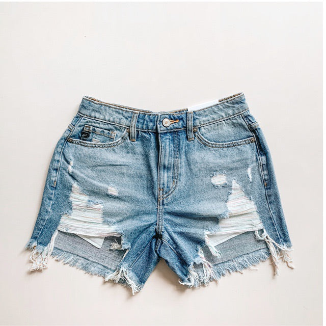 """Kim"" - Adult Medium Blue Denim Ripped Jean Shorts Frayed Bottom Hem"