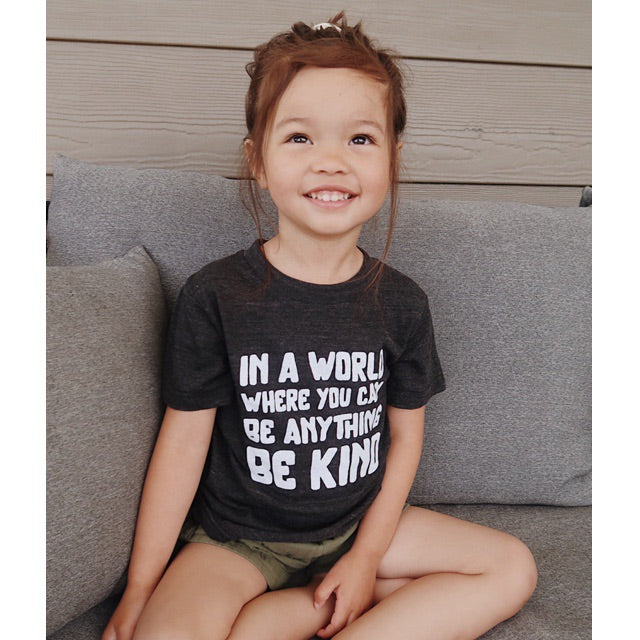 """In a world where you can be anything be kind"" Triblend Charcoal Child T-Shirt"